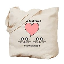 Cats and Love Heart. Text. Tote Bag