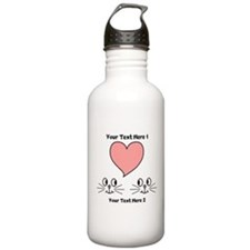 Cats and Love Heart. Text. Water Bottle
