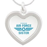 Proud Air Force Sister W Silver Heart Necklace