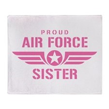 Proud Air Force Sister W [pink] Throw Blanket