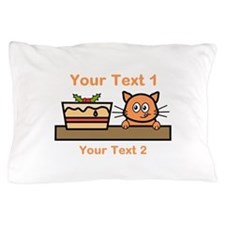 Cat. Christmas Cake. Text Pillow Case