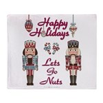 Happy Holidays Nutcracker Throw Blanket