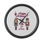 Happy Holidays Nutcracker Large Wall Clock