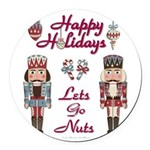 Happy Holidays Nutcracker Round Car Magnet