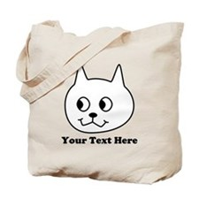 Cartoon Cat with Black Text. Tote Bag