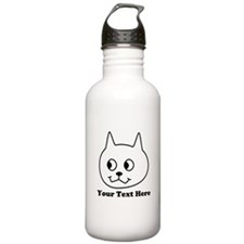 Cartoon Cat with Black Text. Water Bottle