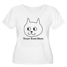 Cartoon Cat with Black Text. Plus Size T-Shirt