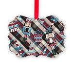 Happy Holidays Nutcracker Plaid Ornament