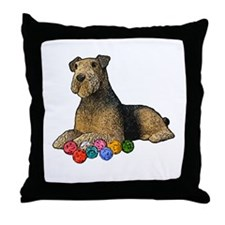 Airdale Terrier Christmas Throw Pillow
