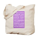 Purple Indian Cities Tote Bag