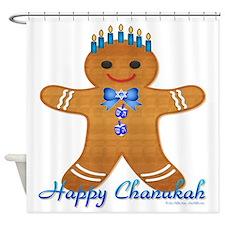 Chanukah Gingerbread Man Shower Curtain