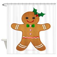 Gingerbread Man - Girl Shower Curtain
