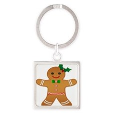 Gingerbread Man - Girl Square Keychain