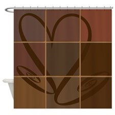 Brown Patchwork Swirly Heart Shower Curtain