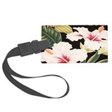 Aloha Shirt Hibiscus Black Large Luggage Tag
