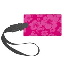 Pink Hibiscus Hawaiian Print Luggage Tag