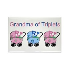 Grandma of Triplets (Girls & Boy) Rectangle Magnet