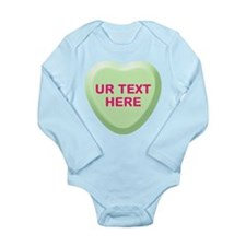 Lime Candy Heart Personalized Long Sleeve Infant B
