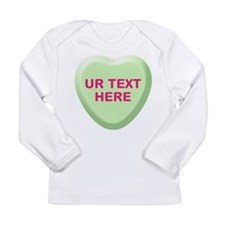 Lime Candy Heart Personalized Long Sleeve Infant T