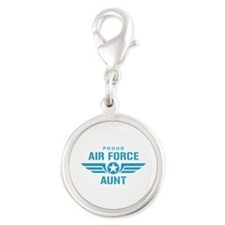 Proud Air Force Aunt W Silver Round Charm