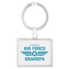 Proud Air Force Grandpa W Landscape Keychain