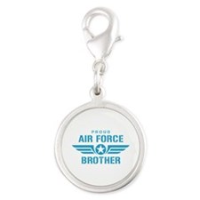 Proud Air Force Brother W Silver Round Charm