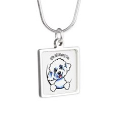 Bichon Frise IAAM Silver Square Necklace