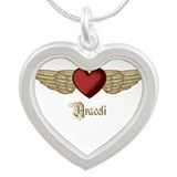 Araceli the Angel Silver Heart Necklace