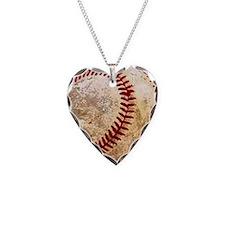 Cool Baseball Necklace Heart Charm