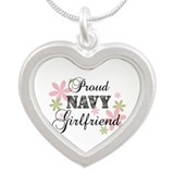 Navy Girlfriend [fl camo] Silver Heart Necklace