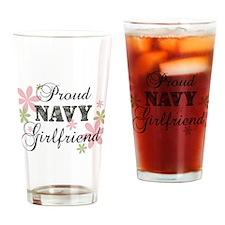 Navy Girlfriend [fl camo] Drinking Glass