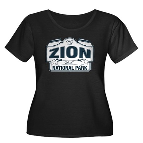 Zion National Park Blue Sign Women's Plus Size Sco