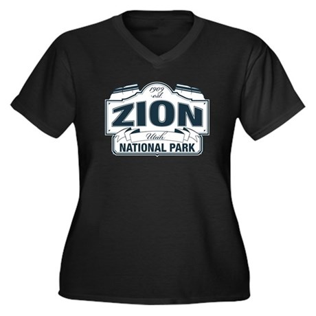 Zion National Park Blue Sign Women's Plus Size V-N