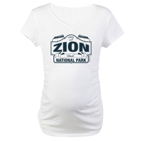 Zion National Park Blue Sign Maternity T-Shirt