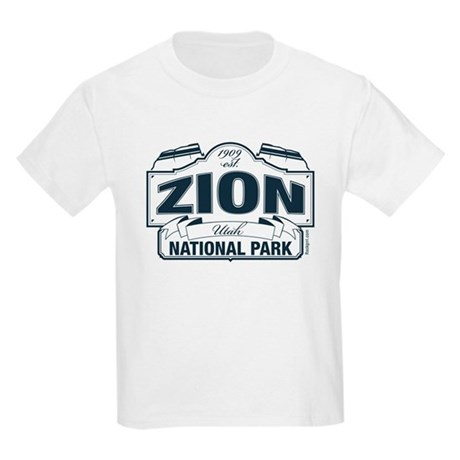 Zion National Park Blue Sign Kids Light T-Shirt
