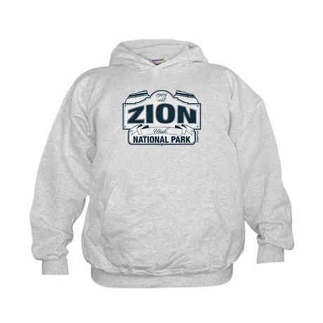Zion National Park Blue Sign Kids Hoodie