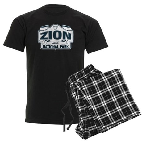 Zion National Park Blue Sign Men's Dark Pajamas