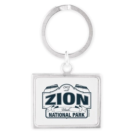 Zion National Park Blue Sign Landscape Keychain