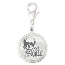 No skulls Silver Round Charm