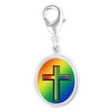 De Colores Cross Silver Oval Charm