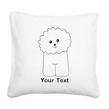 Bichon Frise Dog. Custom Text. Square Canvas Pillo