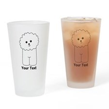 Bichon Frise Dog. Custom Text. Drinking Glass