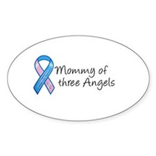 Mommy of Three Angels Oval Stickers