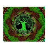 Celtic Tree Illuminated (green) Throw Blanket