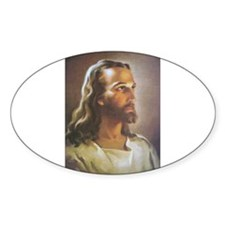 Portrait of Jesus Oval Decal