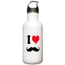 I Heart Mustaches Water Bottle