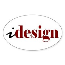 "I ""Design"" (red) Oval Decal"