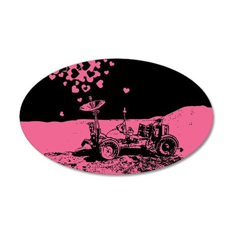 Pink Lunar Rover Of Love 35x21 Oval Wall Decal