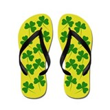 Irish Shamrocks Gold Flip Flops