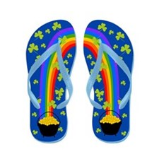 Pot of Gold Shamrocks blue Flip Flops